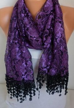 Purple  Scarf Shawl -  Cowl with Lace Edge by Fatwoman best selling item scarf Women's Fashion Accessories Gift Ideas For Her by fatwoman on Etsy https://www.etsy.com/listing/97117890/purple-scarf-shawl-cowl-with-lace-edge