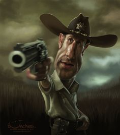 Caricatura de Rick Grimes (The Walking Dead).