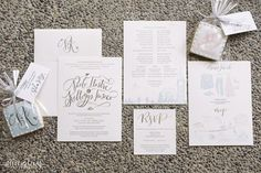 Minimalist Gray and White Wedding Invites | Photo: Jeff & Lisa Photography