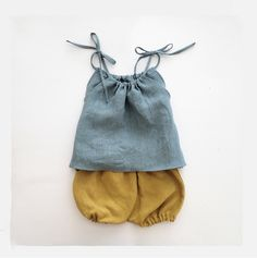 Children Linen Outfit, Pillowcase Top and Bloomers Set, Blue Top, Mustard…