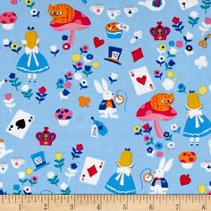 Timeless Treasures Alice In Wonderland Blue from @fabricdotcom  Designed for Timeless Treasures, this cotton print is perfect for quilting, apparel and home décor accents. Colors include shades of blue, red, white, yellow, orange, pink, black, grey and turquoise.