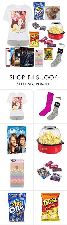 """Movie night with the girls"" by mikayla-burgess ❤ liked on Polyvore featuring Topshop, Victoria's Secret, Halston, Nostalgia Electrics, Casetify and Dollhouse"