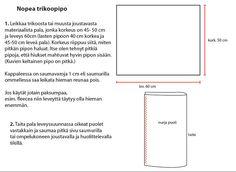 Nuapurin tyär: Nopea trikoopipo Fabric Scissors, Chart, Easy