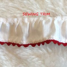 1-3/4 YARDS, White Cotton, Ruffle Sewing Trim, Red Rick Rack Edging, 1-1/16 Inch Wide, L231 by DartingDogCrafts on Etsy