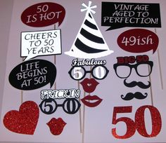 50th Birthday Photo Prop life begins at 50 Fabulous 50 (2163D)