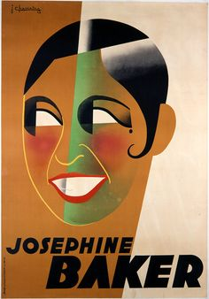 Poster portrait of Josephine Baker by artist Jean Chassaing, circa 1930.