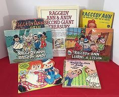 Lot of 7 Raggedy Ann & Andy Books 3 Johnny Gruelle Plus Little Golden Book