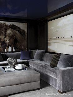  P   Gray done well, high gloss ceilings, high gloss paint via New England Home