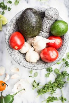 Fresh Ingredients for Guacamole   SouthernFATTY.com