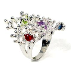 Sterling Silver Gemstone Ring Ruby Sapphire Tourmaline by arosha, $370.00