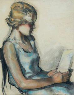 Jeune femme à la lecture by Jean Adrien Mercier. Pastel on paper, 1934.