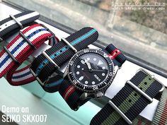 MiLTAT G10 military Blue, Red & Beige watch strap demo on Seiko SKX007