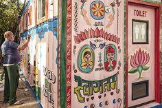 Indian truck art on mobile restroom