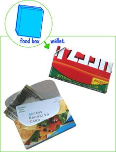 Food box wallet    description: The cool graphics on cereal boxes are much too valuable to throw away. Turn it into something that you can store your valuables inside. With a little bit of elastic, you'll have a crafty new wallet in no time. It also works great as a business card holder.