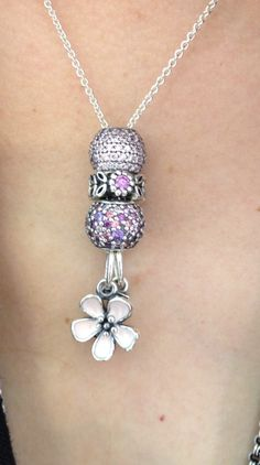 Pandora Necklace with Pave Charms and Cherry Blossom Dangle.