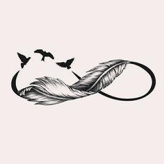 Ni Na Tattoo hinterm ohr Tattoo patte Infinity Tattoo With Feather, Infinity Tattoo Designs, Feather Tattoo Design, Infinity Tattoos, Infinity Love, Infinity Symbol, Family Tattoos, Couple Tattoos, Body Art Tattoos