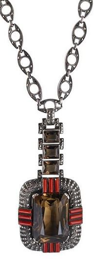 """THEODOR FAHRNER ART DECO JEWELED SILVER NECKLACE  Sterling encrusted with marcasites, articulated pendant set with smokey quartz and red coral suspends from lozenge link marcasite and silver chain, ca. 1927. 21 1/2"""", drops 3 1/2"""" x 1 5/8"""". 78.4 gs. Note: Described as """"evening jewelry"""" in """"Theodor Fahrner Jewelry"""" by Schmidt, Weber, Becker."""