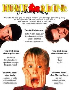 Home Alone Drinking Game. Perfect for the holidays!