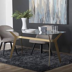 """Amazon.com: Studio Designs Home Archtech 60"""" W x 32"""" D Mid-Century Modern Dining, Desk, Metal and 8mm Thick Glass Table in Gold: Office Products"""