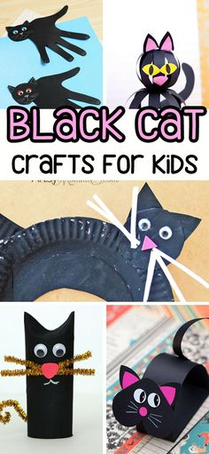 Black Cat Crafts for Kids - so many fun ideas for Halloween that kids can make! Paper crafts, cat handprint, paper roll, and paper plate crafts!