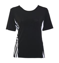 NONI B Travel S/Slv top w Contrast print    $39.95  Short sleeve jersey top with print neck detail and side splits    Item Code: 044425