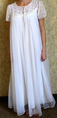 Vintage Wedding Angel Sheer White Peignoir Set S/M by monsterpeace, $30.00