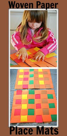 Mess For Less: Woven Paper Place Mats. Great for practicing fine motor skills. Cute for thanksgiving craft and kids table Thanksgiving Art, Thanksgiving Preschool, Thanksgiving Placemats, November Crafts, Paper Place, Petite Section, Motor Activities, In Kindergarten, Kindergarten Worksheets