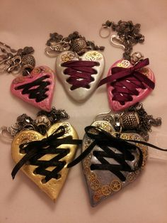 Corset Heart Necklaces with Steampunk watch parts