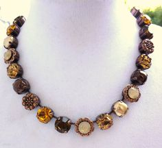 Swarovski+Crystal+Necklace+in+neutral+tones+topaz+by+SiggyJewelry,+$85.00