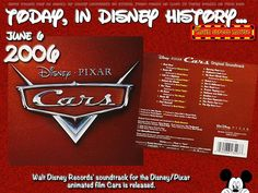 Today In Disney History ~ June 6th Cars is the soundtrack album for the 2006 film of the same name. It was released through Walt Disney Records on June 6, 2006. Nine songs from the soundtrack are from popular and contemporary artists. The styles of these songs vary between pop, blues, country and rock. The … Continue reading »