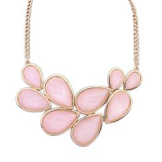 European And American Minimalist Geometric Pink Water Droplet Necklace[US$6.39]shop at www.favorwe.com
