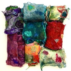 """""""Skinny"""" Scarves - nuno technique, hand dyed silks"""
