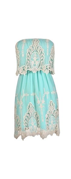 Delicate and Dreamy Crochet Embroidered Dress in Aqua  www.lilyboutique.com