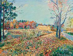 Artist: David Burliuk, Russian/American (1882-1967); Title: Along the Riverbank, Stroudsburg, Pennsylvania, 1965; Medium: oil on canvas board.