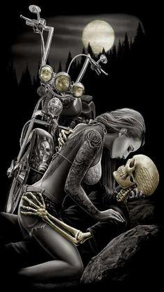 Skull bike and girl