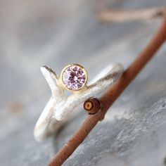 Modern Pink CZ Branch Engagement Ring Silver by NangijalaJewelry