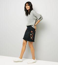 Black Floral Embroidered Denim Mom Skirt | New Look