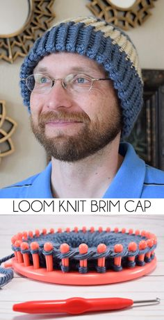 Make caps a bit warmer with a double-thick brim. It's so easy to loom knit a brim cap! hat for men awesome Loom Knit a Hat with a Brim Crochet Hat With Brim, Crochet Beanie, Knitted Hats, Crochet Hats, Loom Knitting Projects, Loom Knitting Patterns, Knitting Yarn, Knifty Knitter, Hat Patterns