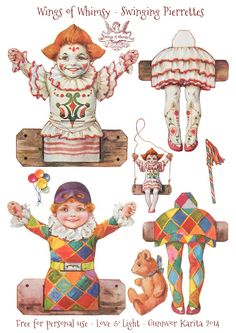 Wings of Whimsy: Swinging Pierrettes - free printable * 1500 free paper dolls at Arielle Gabriel's The International Paper Doll Society also at The China Adventure of Arielle Gabriel free paper dolls * Paper Puppets, Paper Toys, Vintage Paper Dolls, Vintage Circus, Paper Dolls Printable, Printable Vintage, Free Printable, Printable Valentine, Images Victoriennes