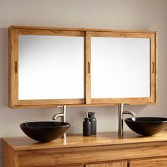 "55"" Wulan Teak Medicine Cabinet - Teak For Master Bathroom Vanity http://www.signaturehardware.com/bathroom/medicine-cabinets/55-wulan-teak-medicine-cabinet.html"