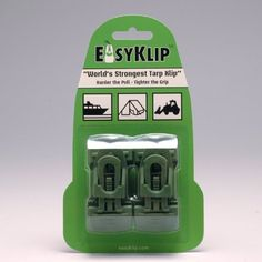 EasyKlip 4103 220lbs Midi 4103 Tarp Clip, 4-Pack, Green by EasyKlip. $9.75. From the Manufacturer Easy Klip's patented Wedge Lock design delivers superior holding power that produces a tighter grip as the load increases. Supports up to 220 lbs. Easy Klip performs well on tarps and all other types of materials whether hemmed or not. Easy Klip offers an improved alternative to grommets, and is durable and reuseable. Product...