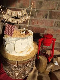 Camping birthday party cake!  See more party planning ideas at CatchMyParty.com!