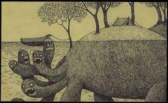 Un artista disegna i suoi brutti sogni d'infanzia su post-it