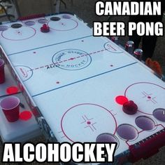 This air hockey version of beer pong is not only different, but awesome! This is a sure way to get everyone excited, (seeing as most people love air hockey), and an easy way for teams to compete. Canadian Beer, I Am Canadian, Canadian Things, Canadian People, Fun Games, Party Games, Party Fiesta, Air Hockey, Hockey Mom