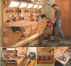 Cool Work Bench - The Garage Journal Board ...would love to see some variation of this, with legs, for Sean