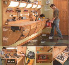 Cool Work Bench - The Garage Journal Board woodworking benches, cool woodworking projects, garage workshop organization, woodworking workshop, garage organization workbench, woodworking workbench, cool garage, work bench, garage workbench
