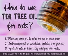Do you have tea tree oil in your first aid kit? If you don't you should consider it. You can use tea tree oil for wounds & cuts; it works really well.
