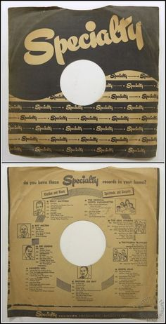 Early 1950's Vintage SPECIALTY Records R&B, Gospel 78 RPM Paper Record Sleeve