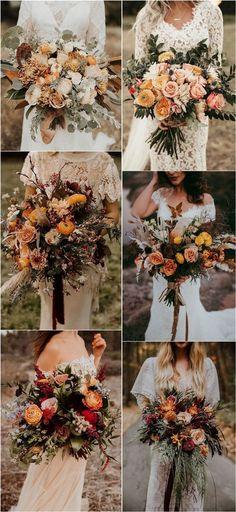 Burnt Orange Weddings, Orange Wedding Flowers, Spring Wedding Flowers, White Wedding Bouquets, Flower Bouquet Wedding, Floral Wedding, Wedding Colors, Bridal Bouquets, Peach Weddings