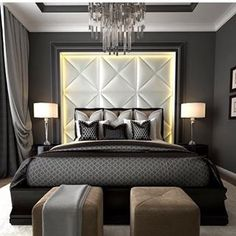 2 puff en vez de banqueta. ARTWORK LUXDECO #master #bedroom
